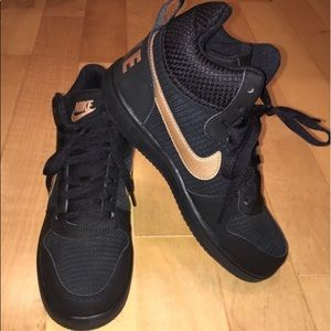 on sale 7ed1a 1d919 black and gold nike high tops